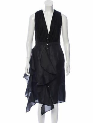 Ungaro Silk Midi Dress Black