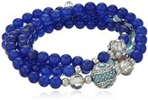 "Betsey Johnson Betsey's Delicates"" Pave Eye and Fireball Blue Bead Stretch Wrap Bracelet, 28"""