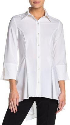 Joseph Ribkoff Slit Sleeve Button Down High/Low Blouse