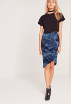 Missguided Tie Dye Wrap Midi Skirt Blue