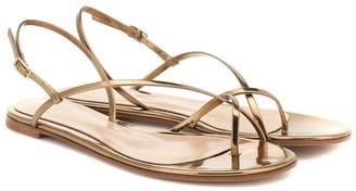 Gianvito Rossi Manhattan metallic leather sandals