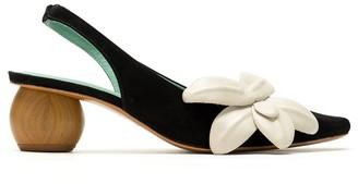 Blue Bird Shoes Floral Detail Slingback Pumps