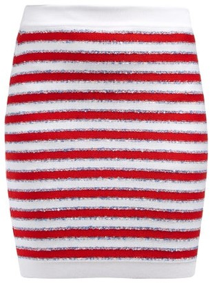 Balmain Stripes And Sequins Knit Skirt - Red Multi