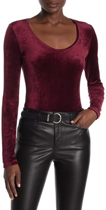 Theory Long Sleeve Scoop Neck Velour Top
