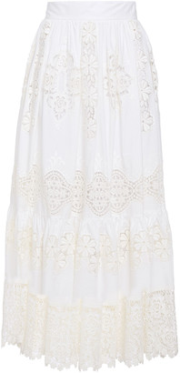 Dolce & Gabbana Guipure Lace-paneled Cotton-blend Midi Skirt