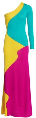 Victor Glemaud One-Shoulder Colorblock Maxi Bodycon Dress
