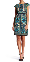 London Times Heraldic Scroll Sheath Dress (Petite)
