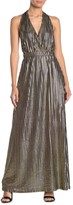 Tov Plunge Halter Stripe Maxi Dress