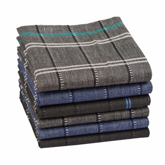 """Houlife Classic 100% 60S Cotton Mens Checkered Pattern Handkerchiefs Assorted Soft Plaid Hankies for Casual Father's Day Gift 6/12 Pieces 16x16""""/40x40cm"""