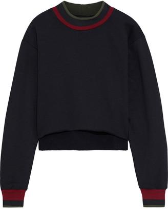 Twenty Montreal Cropped Striped Cotton-blend Fleece Sweatshirt