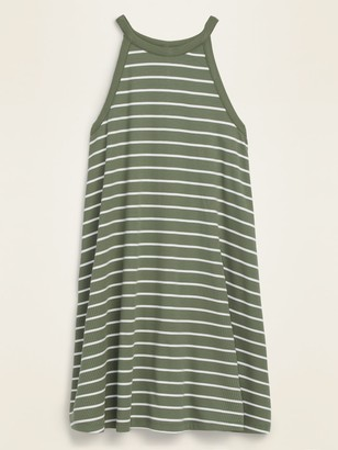 Old Navy High-Neck Striped Rib-Knit Sleeveless Swing Dress for Women