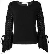 See by Chloe crochet sleeves blouse - women - Polyester/Spandex/Elastane - 36