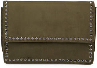 Neiman Marcus Studded Faux-Suede Crossbody Bag