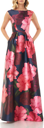 Kay Unger New York Paige Floral Printed Mikado Gown