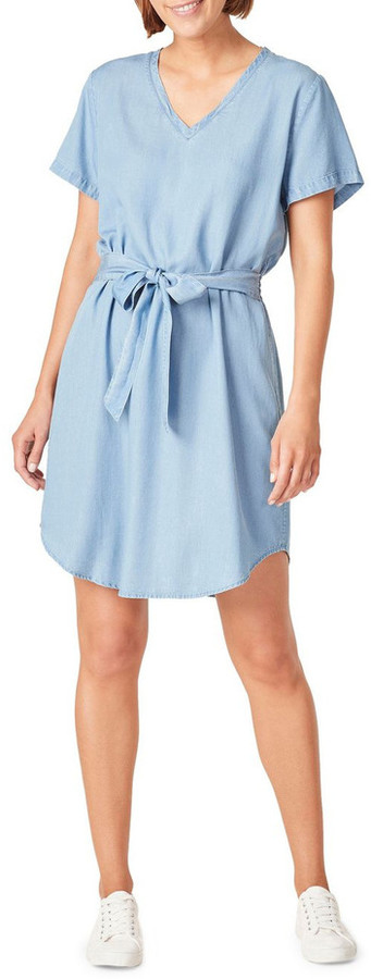 French Connection Tie Waist Lyocell Dress Lt