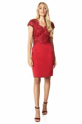 Roman Originals Women Premium Lace Overlay Dress - Ladies Special Occasion Wedding Mother of Bride Groom Evening V-Neck Short Sleeve Midi Side Split Knee Length Dresses - Burgundy - Size 14