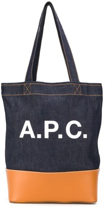 A.P.C. Denim Logo Print Tote