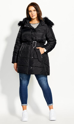 City Chic Longline Puffer Jacket - black