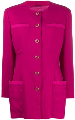Versace Pre-Owned 1980s Collarless Elongated Jacket