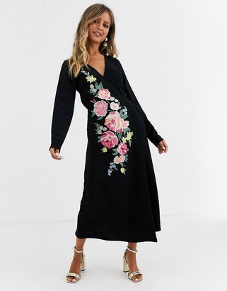 ASOS DESIGN Long sleeve embroidered wrap midi dress