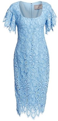 Lela Rose Floral Lace Flutter-Sleeve Sheath Dress
