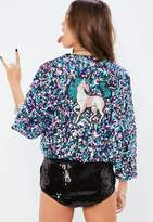 Missguided Silver Sequin Festival Unicorn Jacket