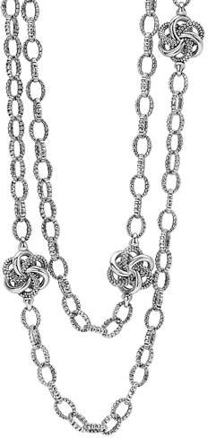 """Lagos Sterling Silver Love Knot Station Necklace, 34"""""""
