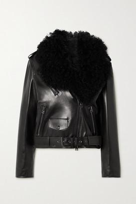 Tom Ford Shearling-trimmed Leather Biker Jacket - Black
