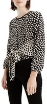 J.Crew Women's Pebble Print Tie Front Silk Top