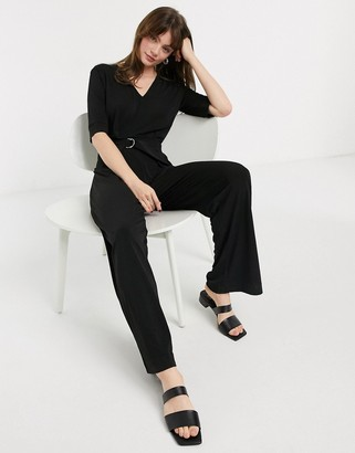 InWear Aden wide leg jersey jumpsuit in black
