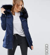 Asos Tall Parka With Quilted Lining And Faux Fur Trim