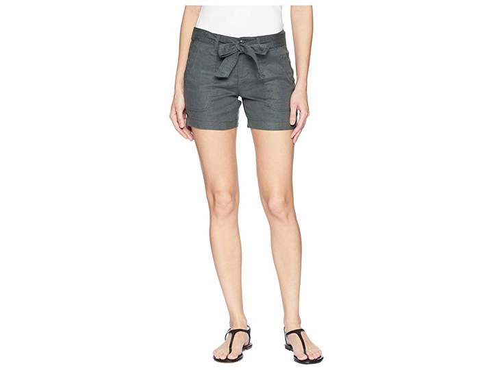 Liverpool Kinley Shorts with Tie Belt in Soft Stretch Linen in Fennel Green