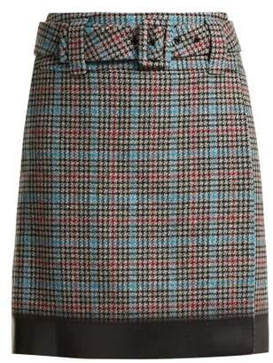 Prada Logo Patch Houndstooth Wool Blend Skirt - Womens - Grey Multi