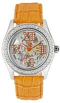 Burgmeister Ravenna Ladies Automatic Skeleton Watch BM140-100B With Swarovski Crystals And Orange Leather Strap
