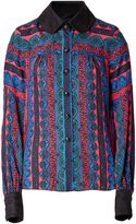 Anna Sui Paisley Stripe Blouse in Sapphire Multi