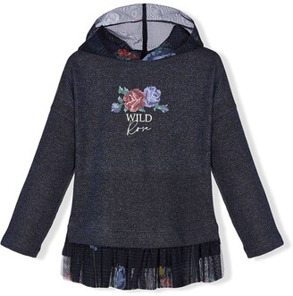 Lapin House Floral-Print Ruffle-Trim Hoodie