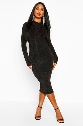 boohoo Long Sleeve Glitter Midi Christmas Party Dress