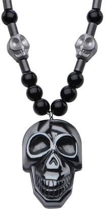 FINE JEWELRY Inox Jewelry Mens Hematite Skull With Black Agate Stainless Steel Bead Pendant