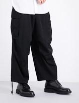 Yohji Yamamoto H-Army wide dropped-crotch mid-rise wool trousers