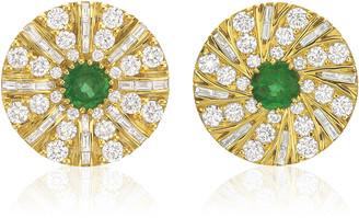 Andrew Glassford Shazam Mismatch 18K Yellow Gold Emerald Diamond Earrings