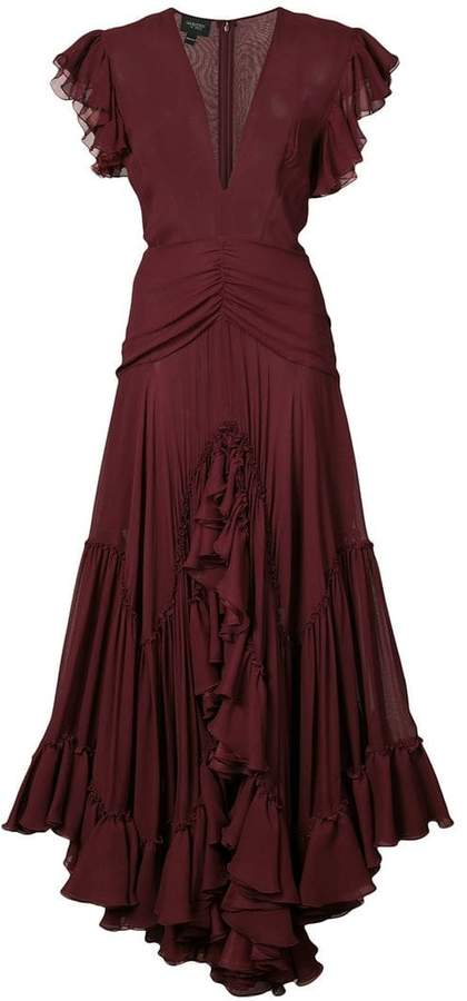 Giambattista Valli v-neck ruffle dress