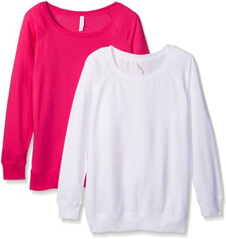 Clementine Apparel Women's 2-Pack Ladies Curvy Plus Slouchy Long Sleeve Pullover Sweatshirt