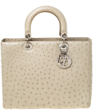 Christian Dior Light Khaki Ostrich Leather Large Lady Tote