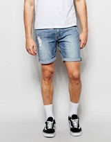 Cheap Monday Denim Shorts Slim Fit High Cut Future Distressed Mid Wash