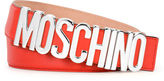 Moschino Metal Logo Adjustable Leather Belt