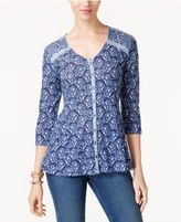 Style&Co. Style & Co Petite Printed Blouse, Only at Macy's
