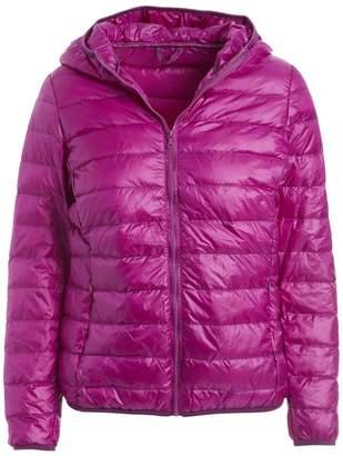 Gingerly Women's Puffer Coats PURPLE - Purple Lightweight Packable Down Puffer Jacket - Women