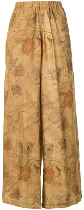UMA WANG Floral-Print Palazzo Trousers