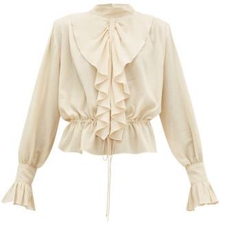 J.W.Anderson Ruffled Funnel-neck Cotton Crepe Blouse - Womens - Cream