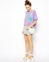 Asos Oversized Cropped T-Shirt with Balloon Animals